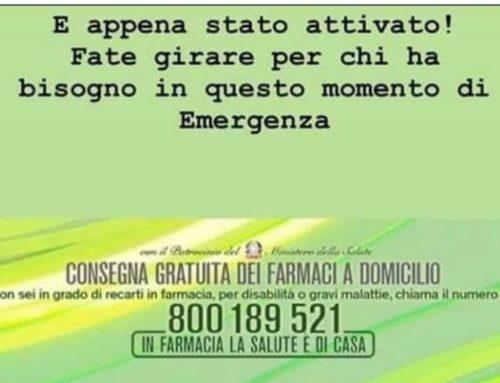 EMERGENZA  CORONAVIRUS  –  800189521 –  CONSEGNA GRATUITA FARMACI DOMICILIO