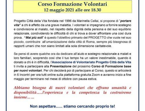 Vuoi diventare un Volontario? Presentazione Corso12 MAGGIO ALLE 18.30