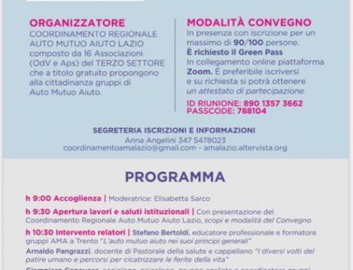 1° Convegno Regionale AUTO  MUTUO  AIUTO – 18 Settembre 2021 Sala Tirreno Regione Lazio
